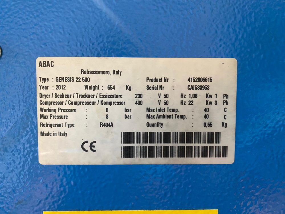 ABAC GENISIS 22 500 22Kw 8 Bar 120 CFM With Dryer Low Hours