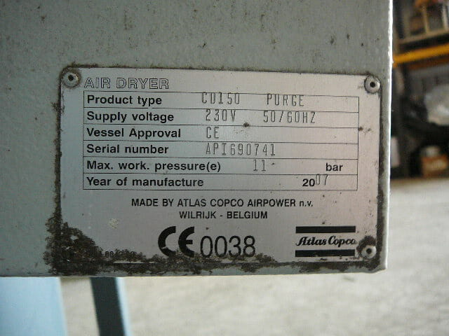 Atlas Copco CD150 adsorption air dryer 300 cfm