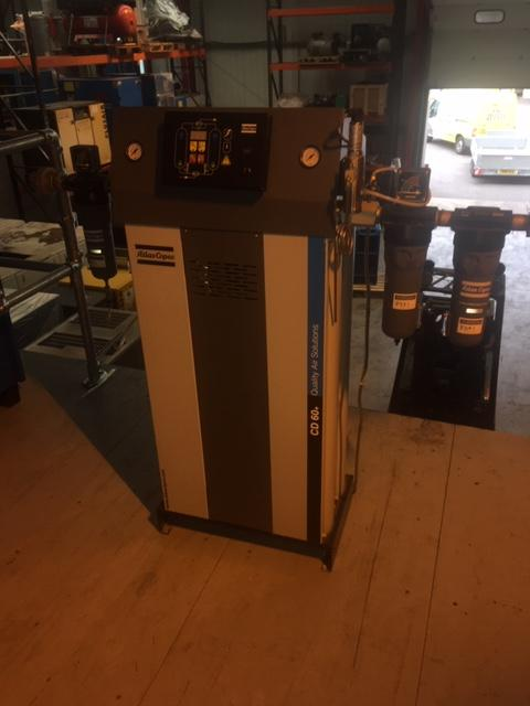 Atlas Copco CD60+ 127cfm desiccant air dryer with dewpoint switching and filters