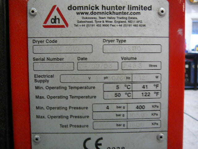 Domnick Hunter DX110 heatless air dryer
