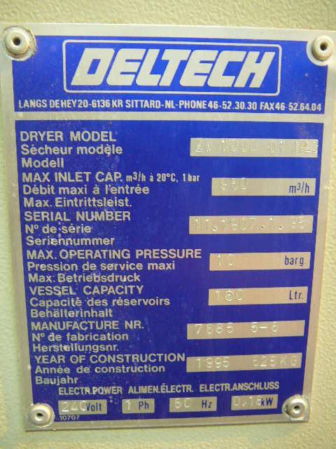 Deltech ZW1000 Fully Pneumatical Desiccant Air dryer 560 CFM