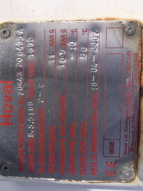 6000 Litre Vertical air receiver 11Bar