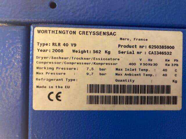 Worthington RLR40EV  30kW variable speed drive screw compressor