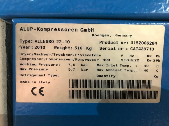ALUP Allegro 22 FF 2010 22kw Variable Speed Dryer 139 CFM