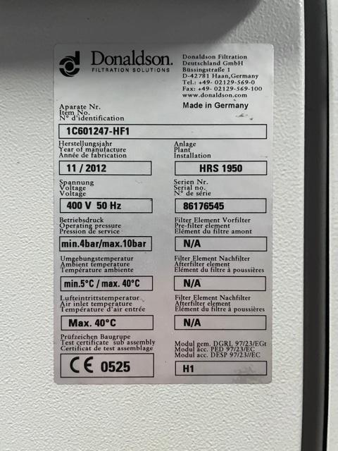 Donaldson HRS-1950 2012 1150 CFM Heat Regen