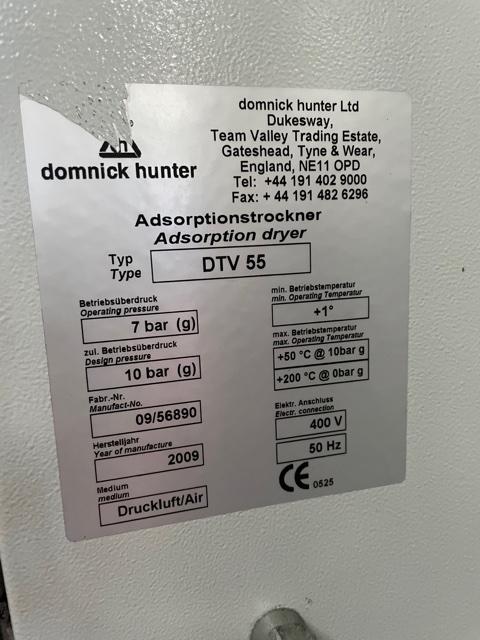 Domnick Hunter DTV 55 1165 CFM Desiccant Air Dryer Heat Regen Zero Purge