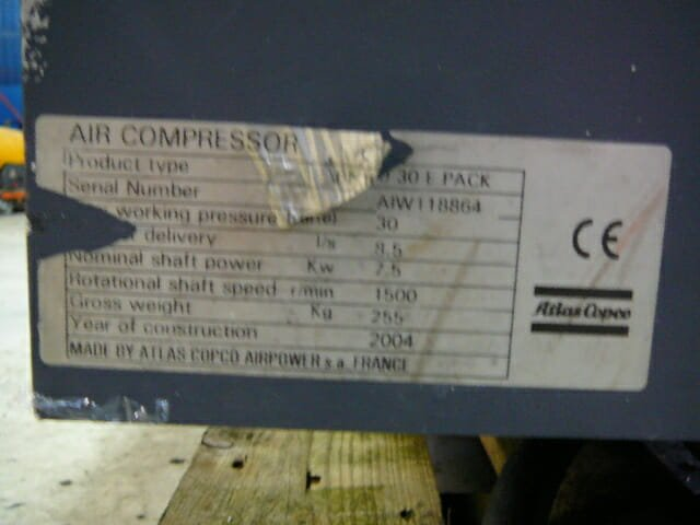 Atlas Copco LT 10 30 BAR Air Compressor