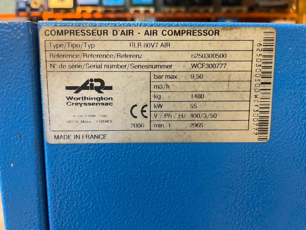 Worthington RLR80V 55kw Variable Speed 9.5 BAR