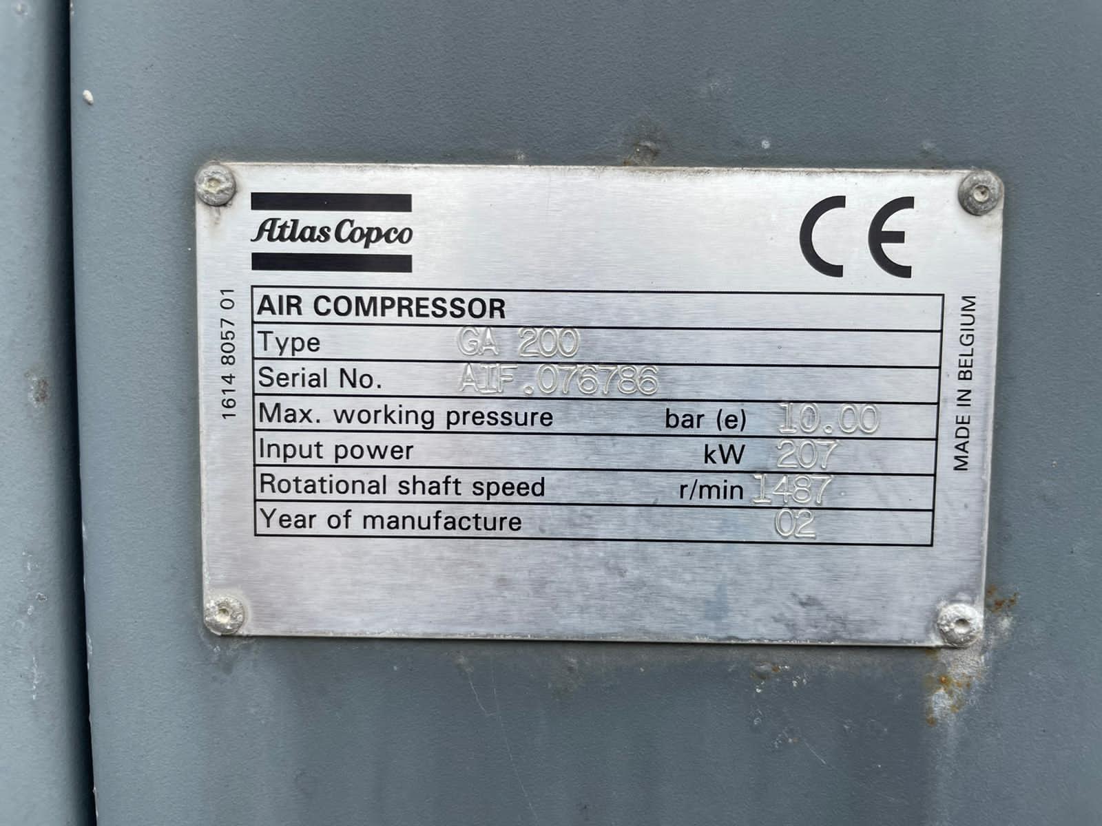Atlas Copco GA200  400v 50hz air cooled