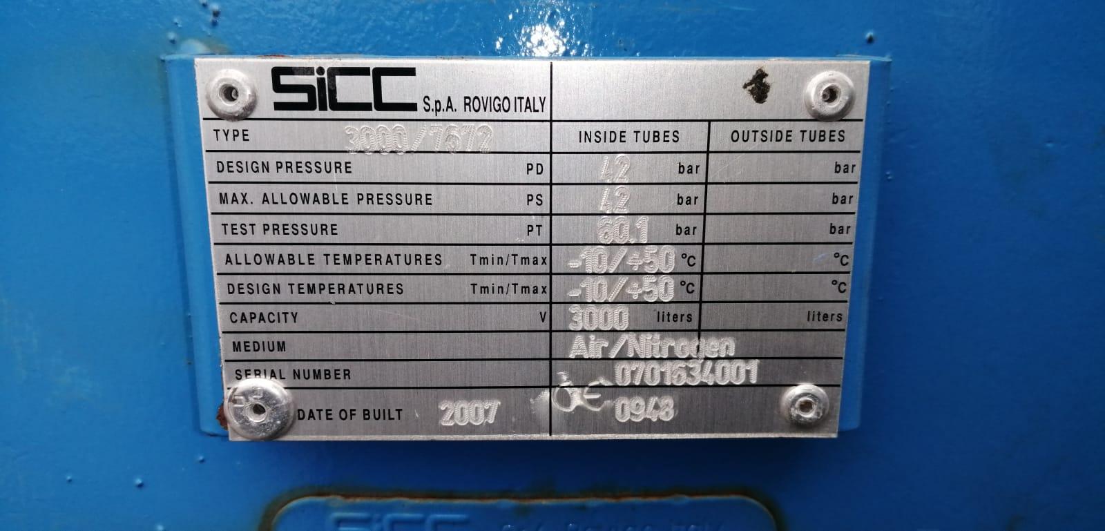 High Pressure Air Receiver 42bar 3000 litre