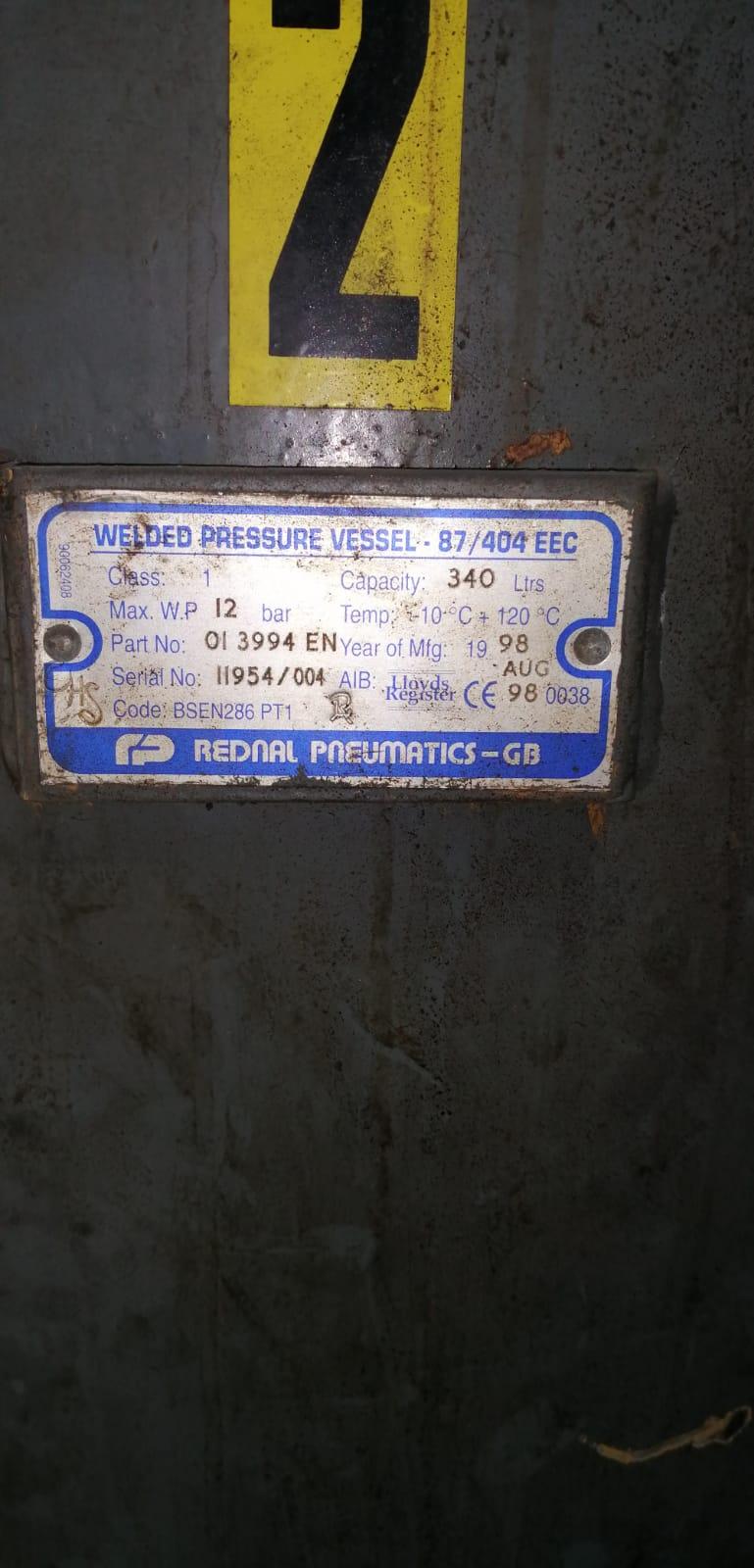 Vertical air receiver 340litre 12bar