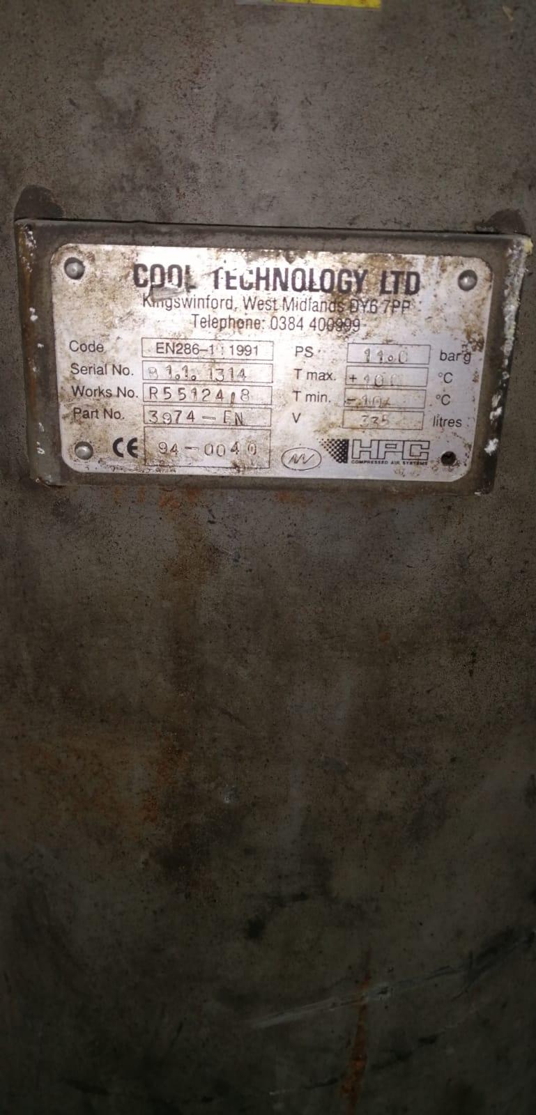 Vertical air receiver 335 litre 11bar