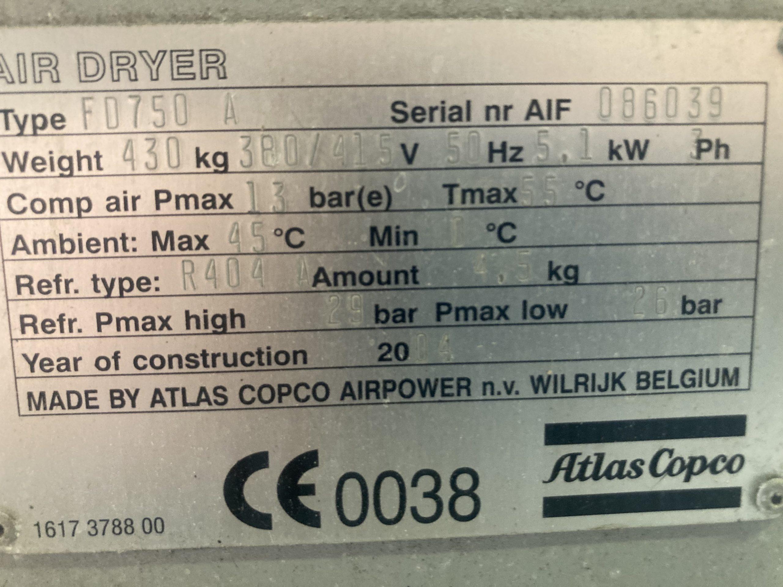Atlas Copco FD750VSD 1500cfm air dryer