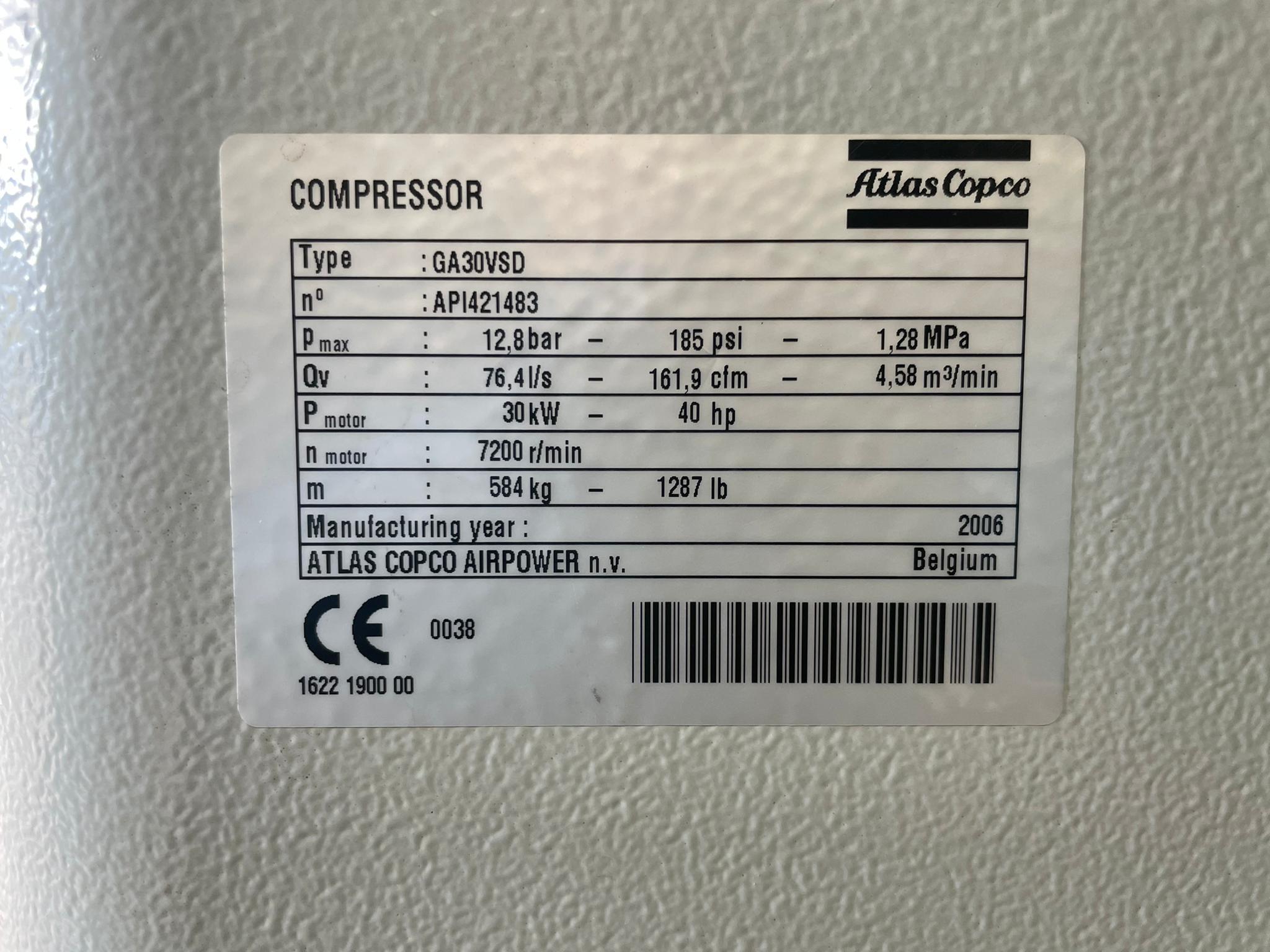 Atlas Copco GA30VSD-FF LOW HOURS