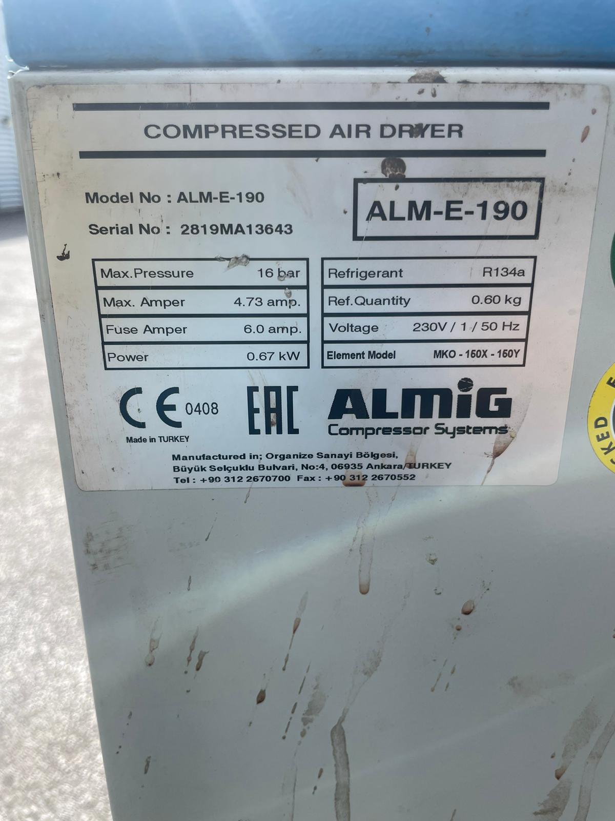 ALMIG ALM-E-190 111 CFM Refrigerant Air Dryer