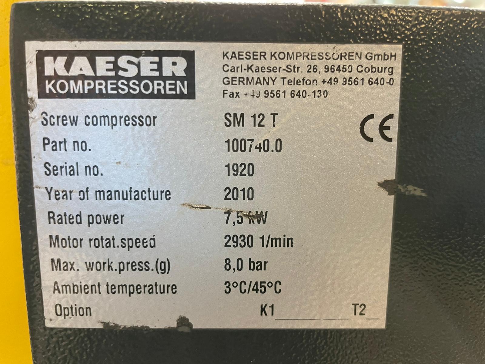 HPC SM12T  10hp 42cfm screw compressor with integral air dryer